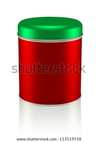 3D Christmas Tin Can design product package, isolated - stock photo