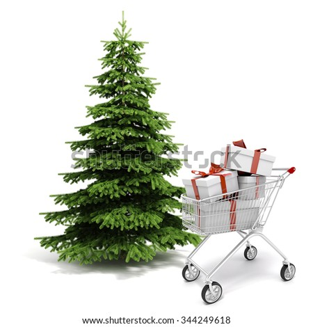 3d Christmas tree and present boxes - stock photo