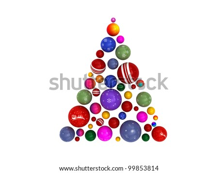 3D Christmas tree made of colorful globes - stock photo