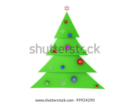 3d christmas tree made of slices with decorations - stock photo