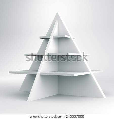 3D Christmas tree shelves and shelf design