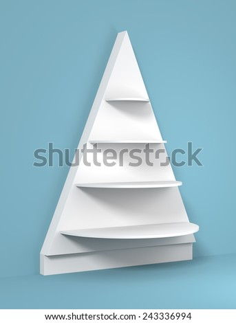 3D Christmas tree shelves and shelf design, blue color background - stock photo