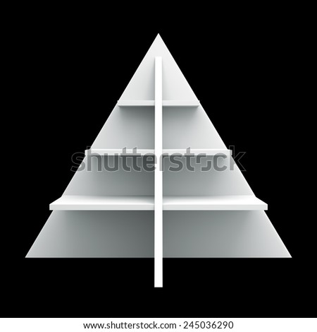 3D Christmas tree shelves and shelf design, front view object die cut - stock photo