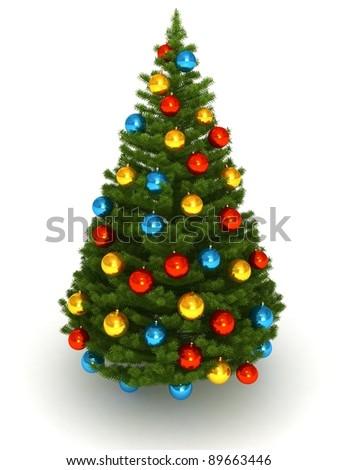 3d Christmas tree white background - stock photo