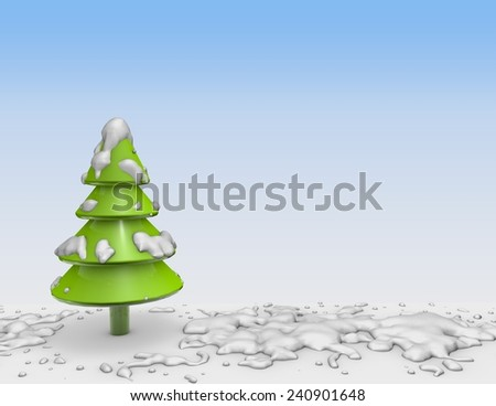 3d christmas tree with snow and blue background. - stock photo