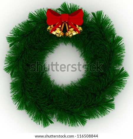 3D Christmas wreath with red bow and jingle bells isolated on white background - stock photo