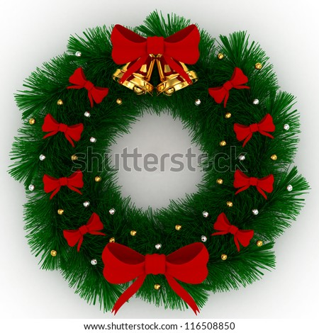 3D Christmas wreath with red bows, christmas balls and jingle bells isolated on white background - stock photo