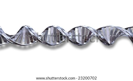 3d Chrome DNA strand silhouetted on white background with soft shadow - stock photo