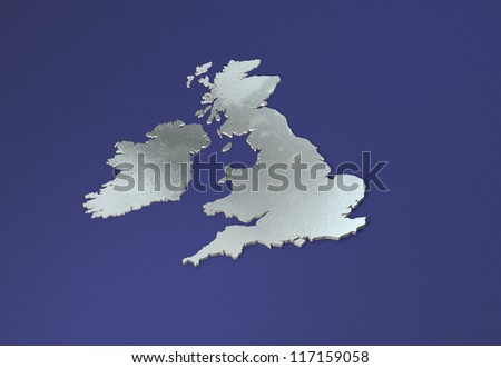 3D chrome map of British isles with contours on reflective blue - stock photo