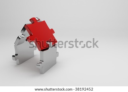 3d chromed puzzle house illustration - stock photo