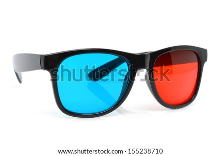 3D cinema glasses isolated on the white background - stock photo