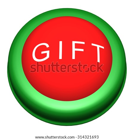 3D Circle Button with Gift Word on White Background