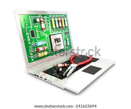 3d circuit board on laptop screen concept, isolated white background, 3d image - stock photo