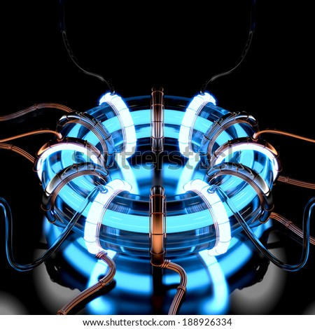 3d circuit energy machine generators in science. - stock photo
