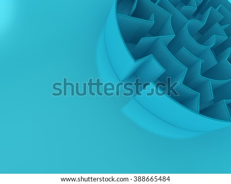 3D Circular maze | Perspective - stock photo