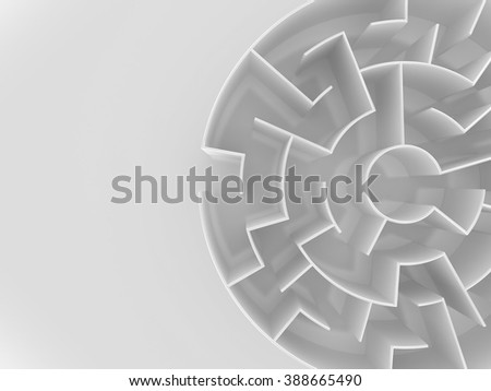 3D Circular maze | Top White - stock photo