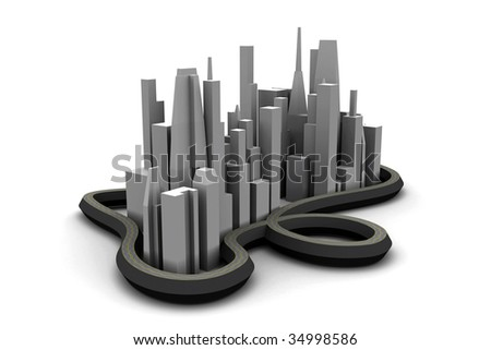 3d city, abstract small city, city with highways, model of a city, city skyline, 3d metropolis, mega-city model, cityscape model - stock photo