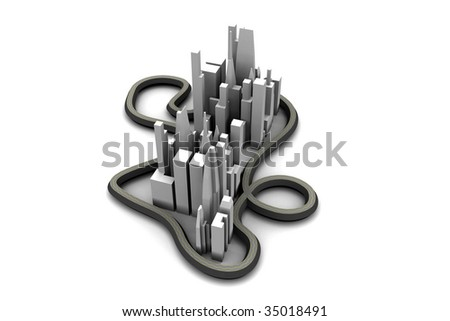 3d city, abstract small city, city with highways, model of a city, city skyline, 3d metropolis, mega-city model, cityscape model, aerial view of a 3d city, concept city