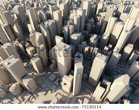 3d city at sunset - stock photo