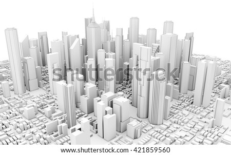 3d city downtown isolated on white background - stock photo