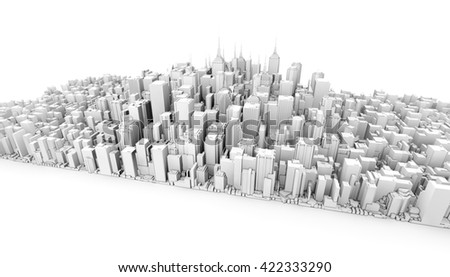 3d city downtown view isolated on white background - stock photo