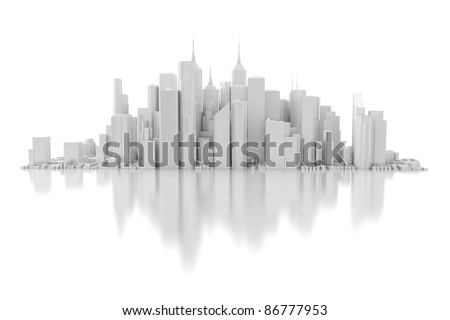 3d city isolated on mirror floor - stock photo