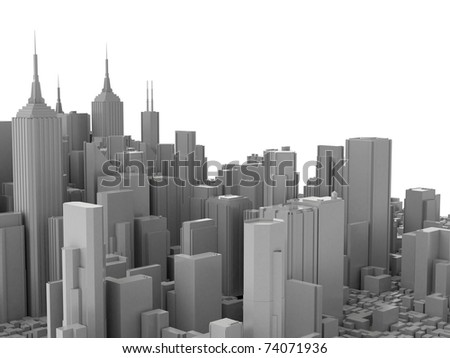 3d city isolated on white background - stock photo