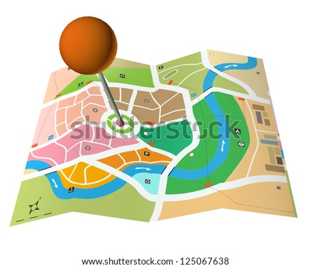 3d city map with adress pointer ball - stock photo