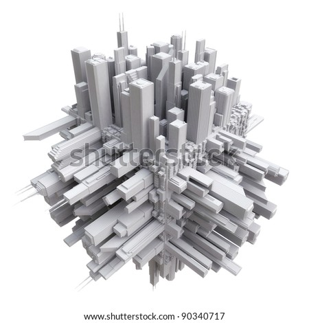 3d city on cube - stock photo