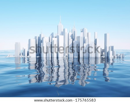 3d city on water surface