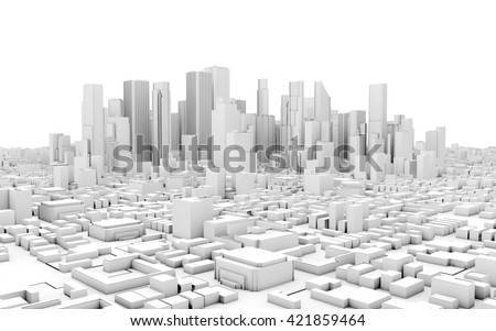 3d city panorama isolated on white background - stock photo