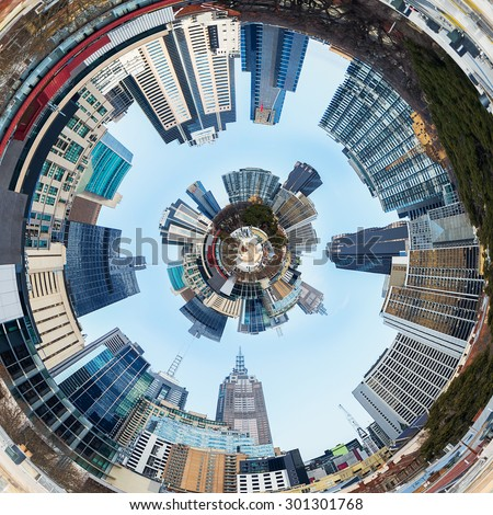 3d City Planet Inside City Tunnel - stock photo