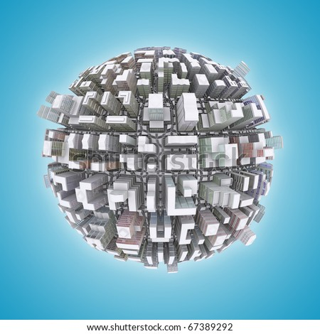 3d City planet urbanization concept - stock photo