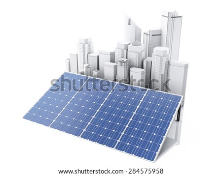 3d City with solar panels, alternative energy. Concept for ecology. Isolated white background - stock photo