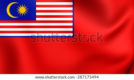 3D Civil Ensign of the Malaysia. Close Up.