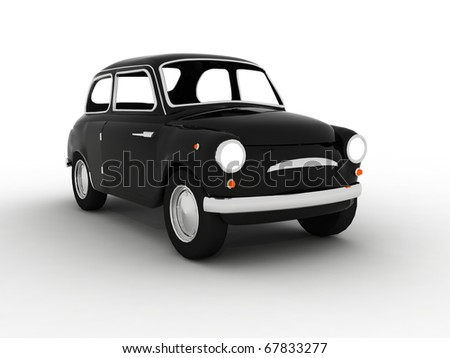 3D Classic Black Car - stock photo
