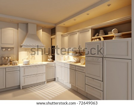 3d clay render of a modern kitchen - stock photo