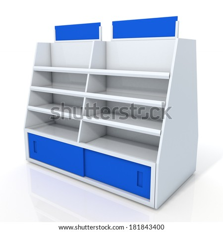 3d clean white and blue store shelves and brand sign new design for products showing in minimart or department store isolated background with work paths, clipping paths included  - stock photo