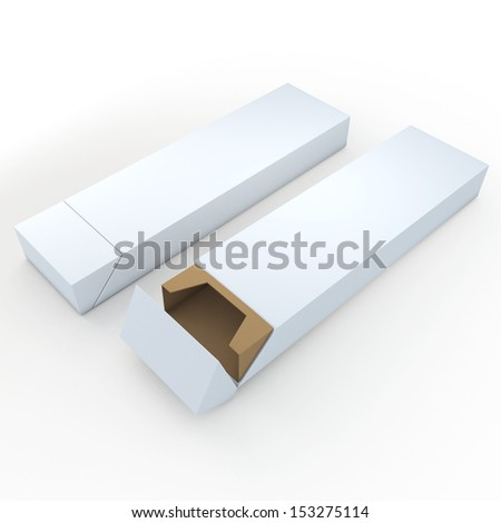 3d clean white and brown pencils packaging, pens, chocolate, carton box and packaging blank template in isolated with clipping paths, work paths included  - stock photo
