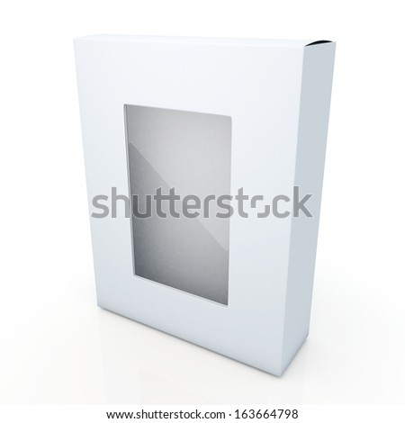 3d clean white and transparent boxes flip cap packaging products blank template and cut off attach PVC for show option in isolated and reflection background with work paths, clipping paths included  - stock photo