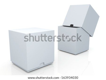 3d clean white boxes with cover  products container blank template and rim cut function pick option for useful core slide in isolated background with work paths, clipping paths included  - stock photo