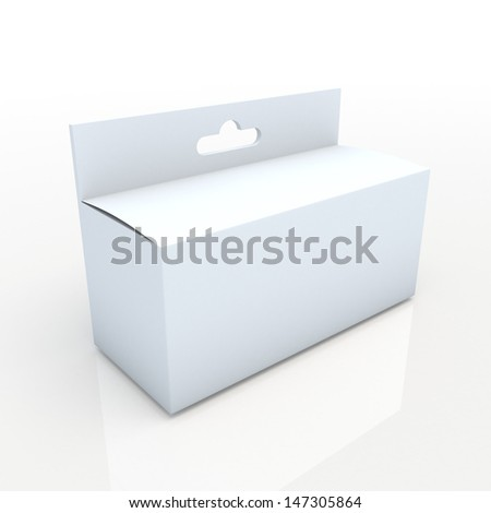 3d clean white carton packaging hang, suspend, box for products in isolated background with clipping paths, work paths included  - stock photo
