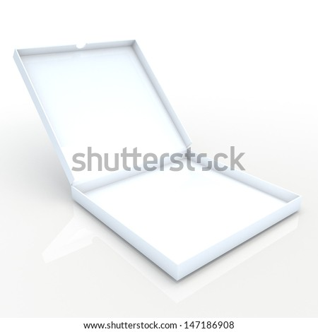 3d clean white carton packaging pizza box opened free  in isolated background with clipping paths, work paths included  - stock photo