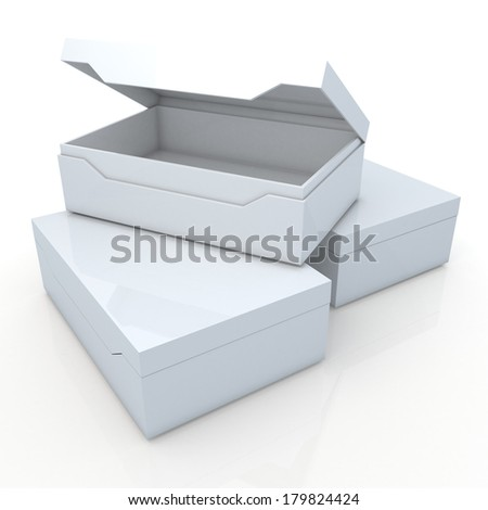 3d clean white container for shoes products, leather, clothes, or accessories blank template and core in isolated background with work paths, clipping paths included  - stock photo