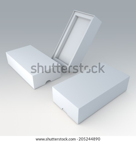 3D clean white mobile phone or electronic products packaging 2 piece and support step in isolated background with work paths, clipping paths included  - stock photo