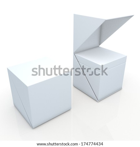 3d clean white open ready 2 pieces packaging blank template in isolated with clipping paths, work paths included  - stock photo