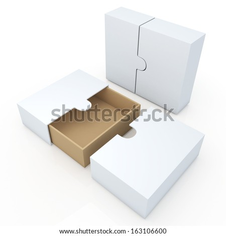 3d clean white original brown container for garments products, leather, clothes, or accessories blank template and wedge option in isolated background with work paths, clipping paths included  - stock photo