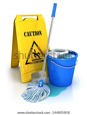 3d cleaning equipment, isolated white background, 3d image - stock photo