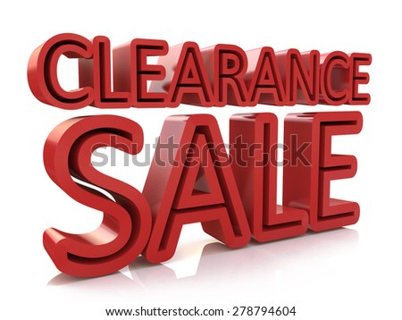 3D Clearance Sale text on white background