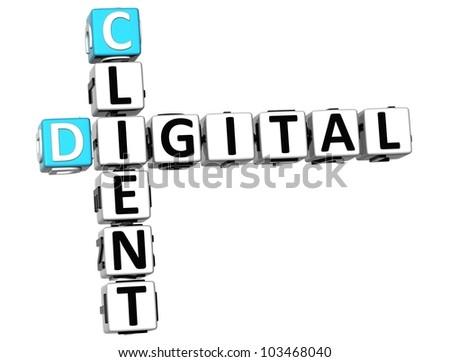 3D Client Digital Crossword on white background - stock photo